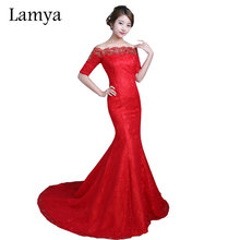 Hot Sexy Lace Mermaid Wedding Dresses Cheap Red White Court Train Gown Vintage Boat Neck