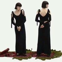 2017 Черное длинное платье с вырезами на плечах, сексуальное платье с открытой спиной, вечернее платье, потрясающее длинное платье vestid, тонкое