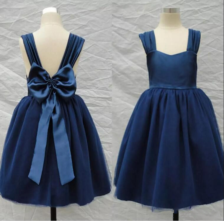 Navy Blue Flower Girl Dresses A Line Straps Backless Big Bow Tea Length Kids Gown for Wedding