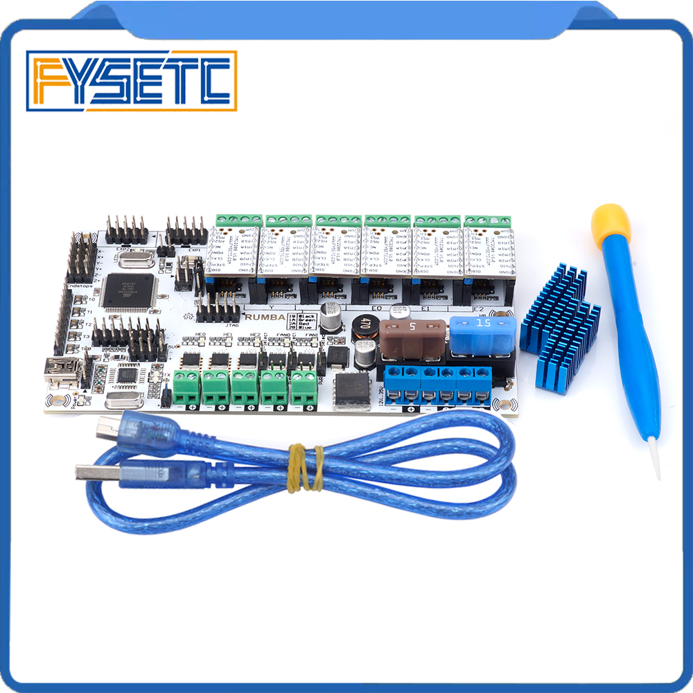 Free Shipping 3D Printer Start Kits Mother Board Rumba Plus Board With 6pcs TMC2100/TMC2208/TMC2130 Stepper Driver 6pcs Heatsink rumba plus 3d printer start kits mother board upgrade rumba control board with 6pcs drv8825 stepper driver suitable mks tft