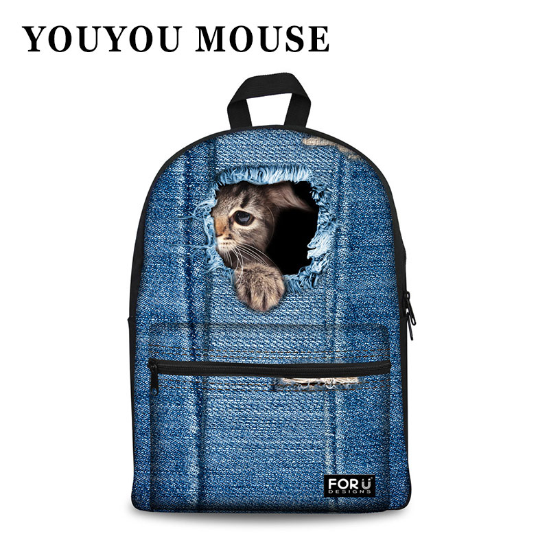 YOUYOU MOUSE Women Backpacks 3D Animal Cat Dog Printing Rucksack Cowboy Blue Canvas Bagpack School Bags Mochila Escolar Fashion