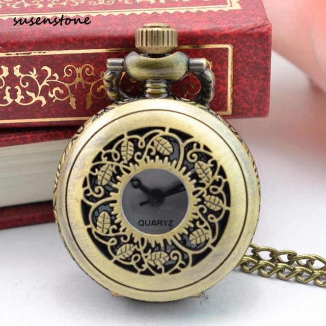 Susenstone Luxury Pocket Watch Men Women Vintage Steampunk Retro Bronze Design Pocket Watch Quartz Pendant Necklace Gift 30