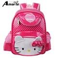 Nueva Linda Hello Kitty Niñas Mochilas Niños Bolsa de kindergarten Bolso de Escuela Para Niños de Alta Calidad de LA PU de Cuero mochila escolar