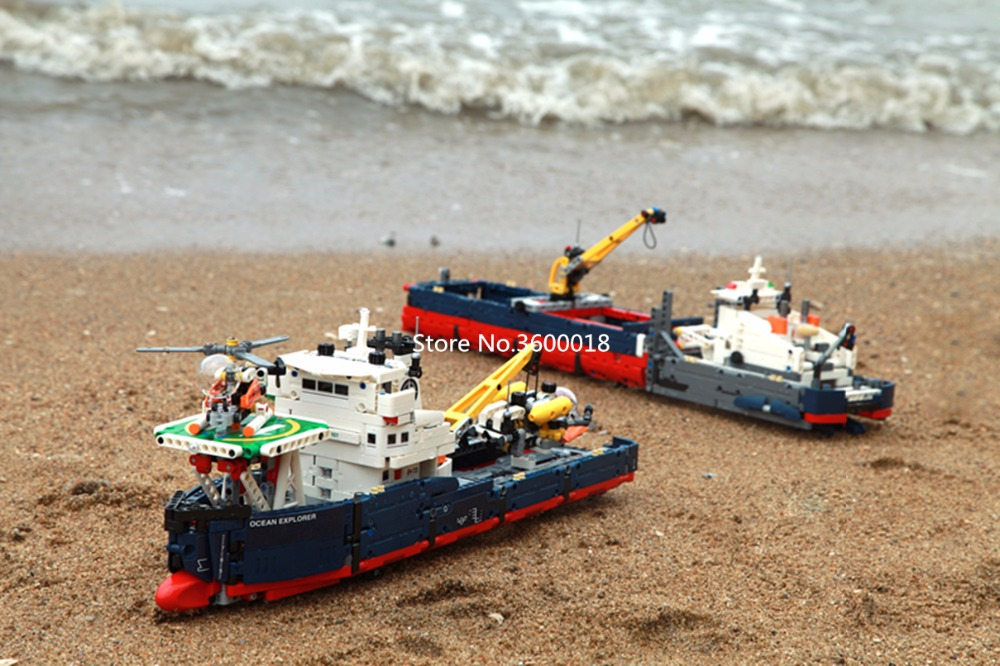 1342pcs DECOOL 3370 Ocaen Explorer Lepinlys TECHNIC 42064 Boat Helicopter Plane Building Blocks Bricks  Toys For Children Gift