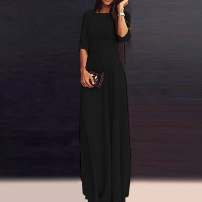 Summer Women Lady Long Chiffon 3/4 Sleeve Formal Party Prom A-Line Floor-Length Maxi Dress