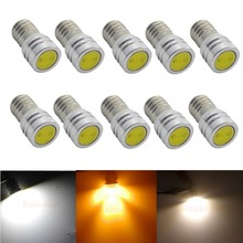 1W E10 LED Light Beads 3V 6V 6.3V 12V Match with E10 Screw Bulb LED Lamp powerful car COB Bulb 10pcs/lot Warm White/White/Yellow стоимость