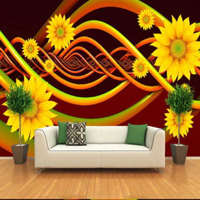 Flowers Large Three Dimensional Curved Wall Mural Painting Living Room  Bedroom Wallpaper TV Backdrop Stereoscopic Part 59