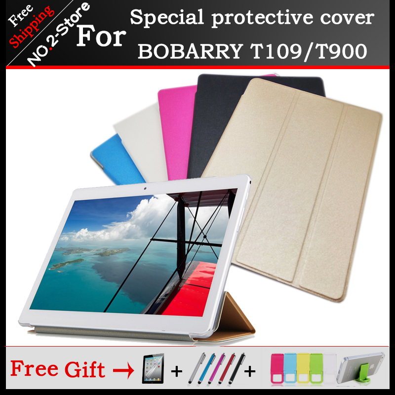 Ultra thin 3 fold Folio PU leather stand cover case for <font><b>BOBARRY</b></font> <font><b>T109</b></font> /T900 Phone call tablet 10.1inch ,Multi-color optional+gift image
