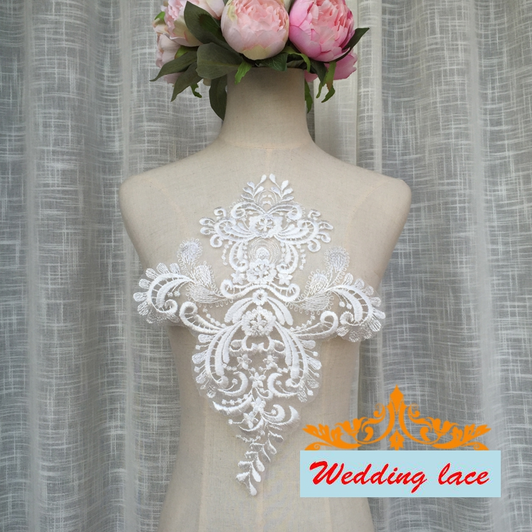 35.5*25CM new wedding veil lace patches light ivory embroidery lace flowers 2017 NEW fashion wedding accessories 2pcs/lot