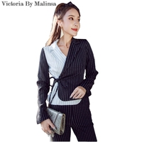 2018 New Spring Blazers Suit Striped Black White Simple Women Pants Suits 2 Two Piece Sets