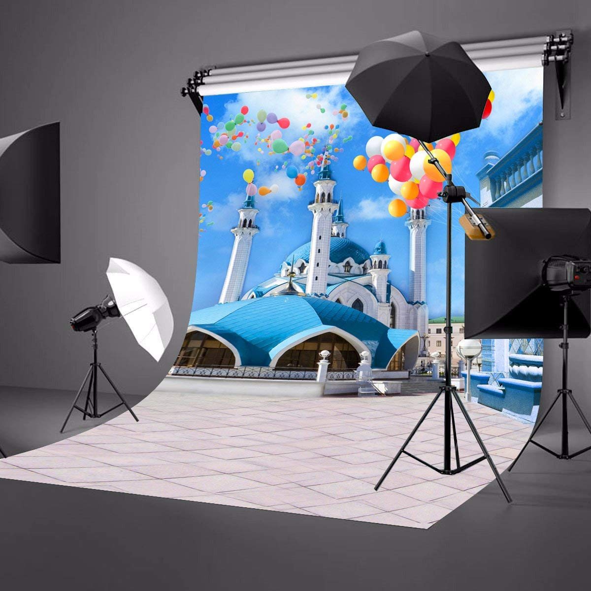 5x7ft Mediterranean Style Architecture Backdrop Aegean Area Blue Bildings Colorful Flying Balloons Photo Video Props in Photo Studio Accessories from Consumer Electronics