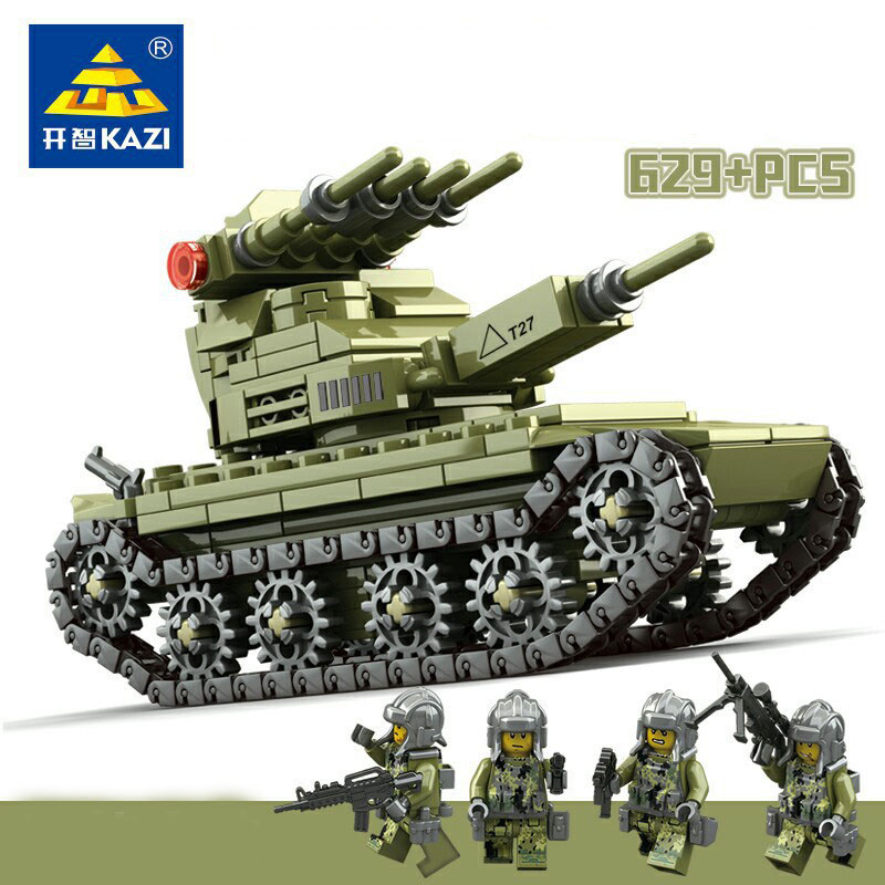 KAZI 84055 627pcs 4in1 Military Army Field Forces Tank Building Blocks Set DIY Bricks Toys for children tumama 829pcs military blocks toy 8 in 1 warship fighter tank army soldiers bricks building blocks educational toys for children