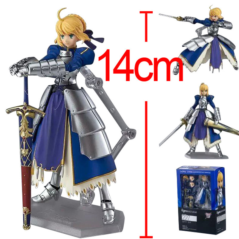 Japanese Anime Figma Fate Stay Night Blue Saber Armor Lily Action figures Collectible Model Face Swipe Toy Gift 14cm - Supertouch Store store