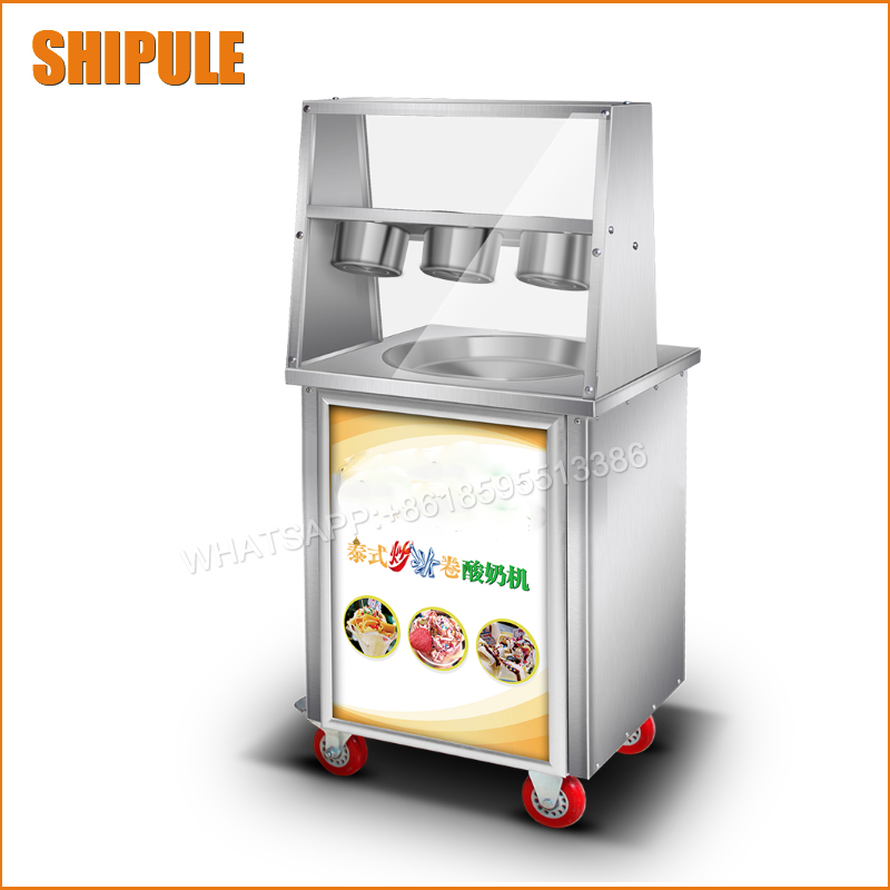 flat pan fried ice cream machine SINGLE POT Stainless steel Ice Pan Machine roll ice cream maker single pan double compressor fried ice cream machine stainless steel fried ice cream roll machine intelligent fried ice machine