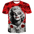 new fashion men women's Marilyn Monroe t shirt print Red Black print flowers/money Graphic rose T-Shirt casual 3d tshirt tops