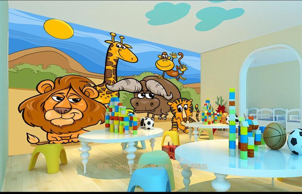 Kustom 3d foto wallpaper kamar anak mural kartun hewan for Mural kartun