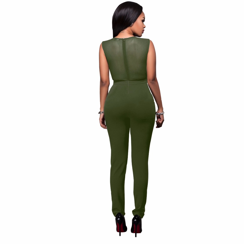 2017 New Summer Women Jumpsuit Bandage Black Bodysuit V-Neck Sleeveless Print Zipper Back Sexy Bodycon Jumpsuits And Rompers 13