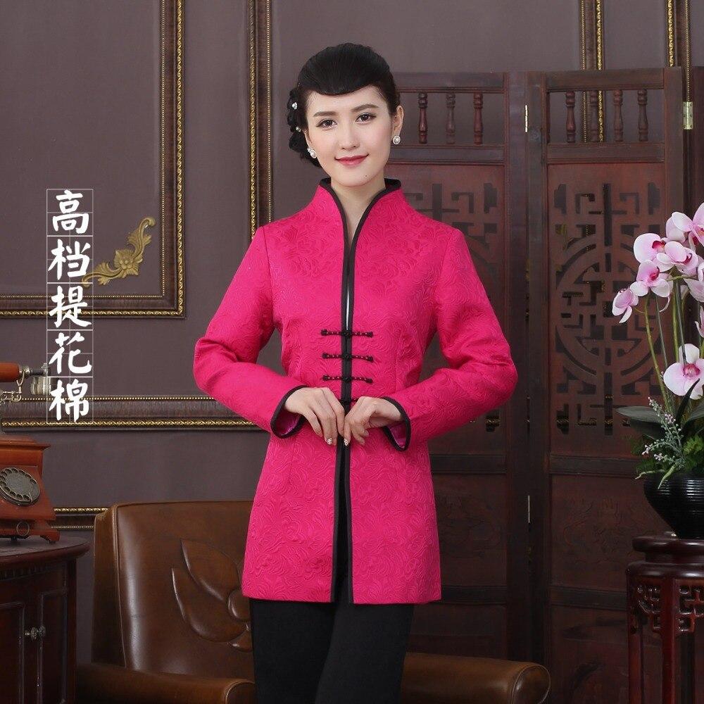Alta Calidad Jacquard de algodón Estilo de la Tradición China de Largo Chaquetas