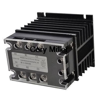 AC-AC 40A 90-280VAC/380VAC 3 Phase SSR Solid State Relay w Black Heat Sink