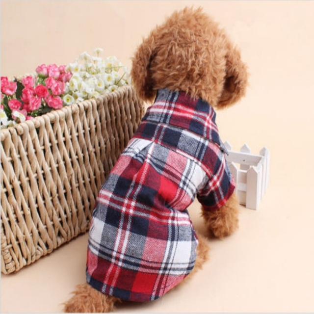 Dog Shirts Plaid England Style Dog Clothes Blouse Tops Shirts Summer Autumn For Pet Puppy Dogs Cats Clothes 2