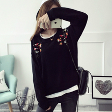 Kesebi 2017 Autumn Winter New Style Feminine O-neck Heat Unfastened Knit Pullovers Ladies Informal Thick Lengthy Sleeve Embroidery Sweaters