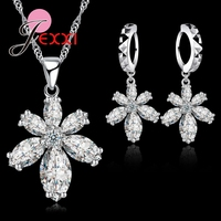 JEXXI Exaggeration Cubic Zirconia Flower Snowflake Necklace Drop Earring 925 Sterling Silver Jewelry Set Bijoux Wedding Gift