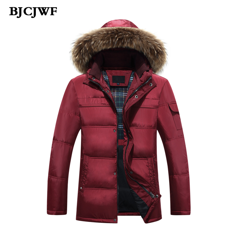 BJCJWF 2017 brand winter jacket men white duck down jacket hooded Fur parkas mens down jacket thick warm outerwear jackets Male