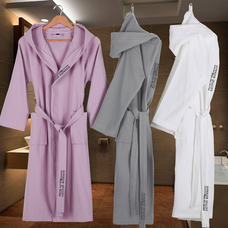 Cotton Bathrobe Men Hooded  Dressing Gown Women Long Soft Warm Robe Wedding Bridesmaid Robe White/Grey Color Knee Length Luxury