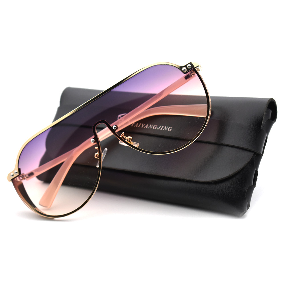 Fashion Women Sunglasses Oversized Punk Sun Glasses With Luxury Eyewear Bag High quality Vintage Glasses Metal Frame Men Shades in Women 39 s Sunglasses from Apparel Accessories