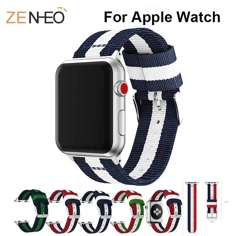 Nylon For Apple Watch 3/2/1 Band For Iwatch 4 42mm 38mm Watchbands Woven Watch Strap Bracelet Replacement Belt Metal Wristband