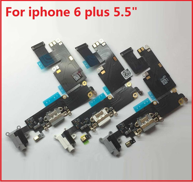 Best quality USB Charger Connector Flex Cable Tail Plug For Apple IPhone 6 plus 5.5″ Repair Parts white, light gray ,dark gray