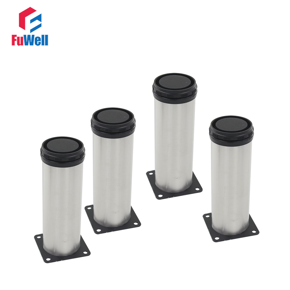 4pcs 350mm Length Furniture Legs Adjustable 15mm Silver Tone Stainless Steel Table Bed Sofa Leveling Foot Cabinet Legs bqlzr 150x63mm square shape silver black adjustable stainless steel plastic furniture legs sofa bed cupboard cabinet table bench