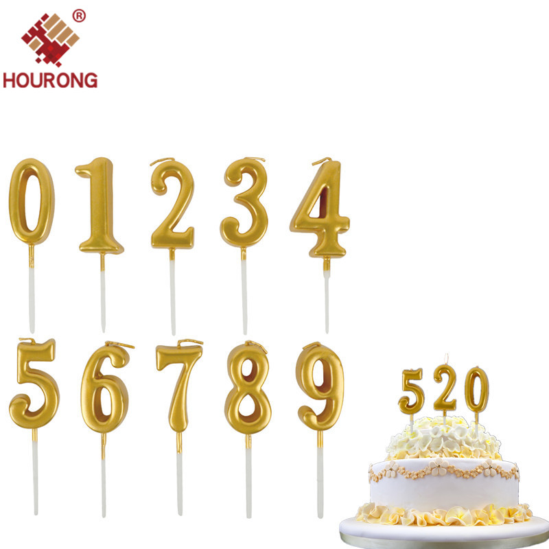 HOURONG 1 PC 0 to 9 Golden Number Candles Creative Multicolor Smokeless Birthday Cake Decoration Candles For Birthday Party