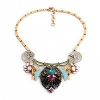 Elegancka Biżuteria Hurtowych Szklane Żywica Emalia Stop Cynkowy Vintage Naszyjnik Moda Pompatyczny Krótki Łańcuch Obojczyk
