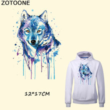 ZOTOONE New Design Water Painted Wolf Iron on Patch 12*17CM DIY T-shirt Dresses Thermal Transfer Patches for Clothing Bags E