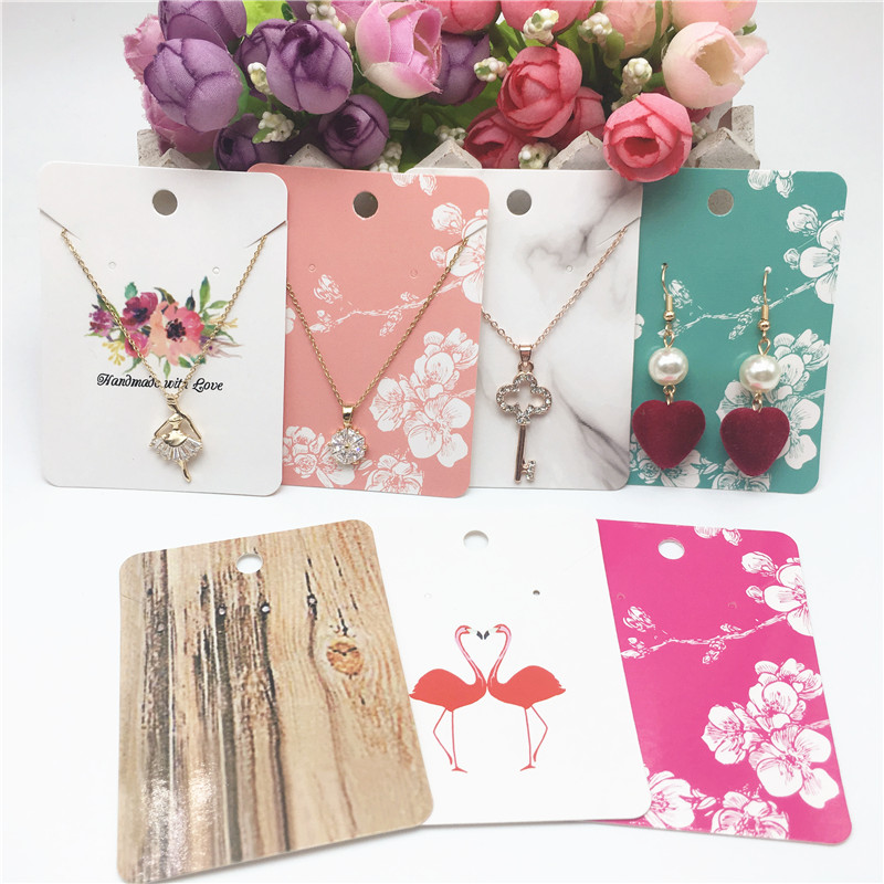 50Pcs 8x6cm Paper Pendant/Necklace Cards Jewelry Displays Card Earring And Necklace Set Packing Cards