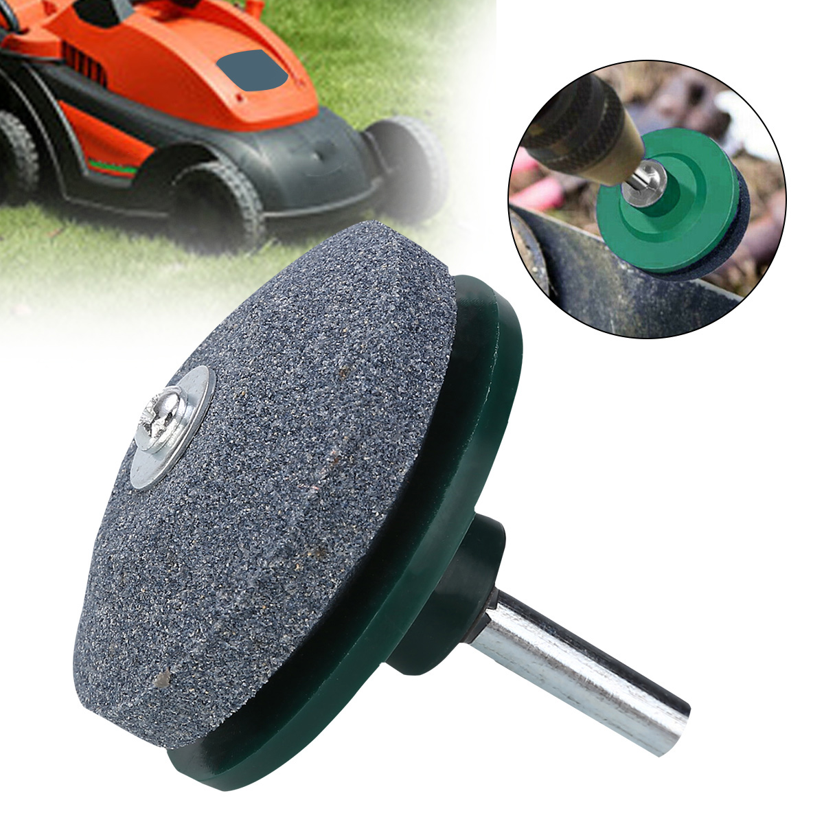 Green Lawn Mower Sharpener 50mm Drill Mounted Blades Rotary Tool