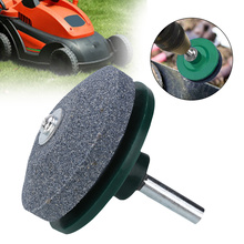 Green Lawn Mower Sharpener 50mm Green Drill Mounted Blades Sharpener Rotary Lawn Mower Sharpener Tool