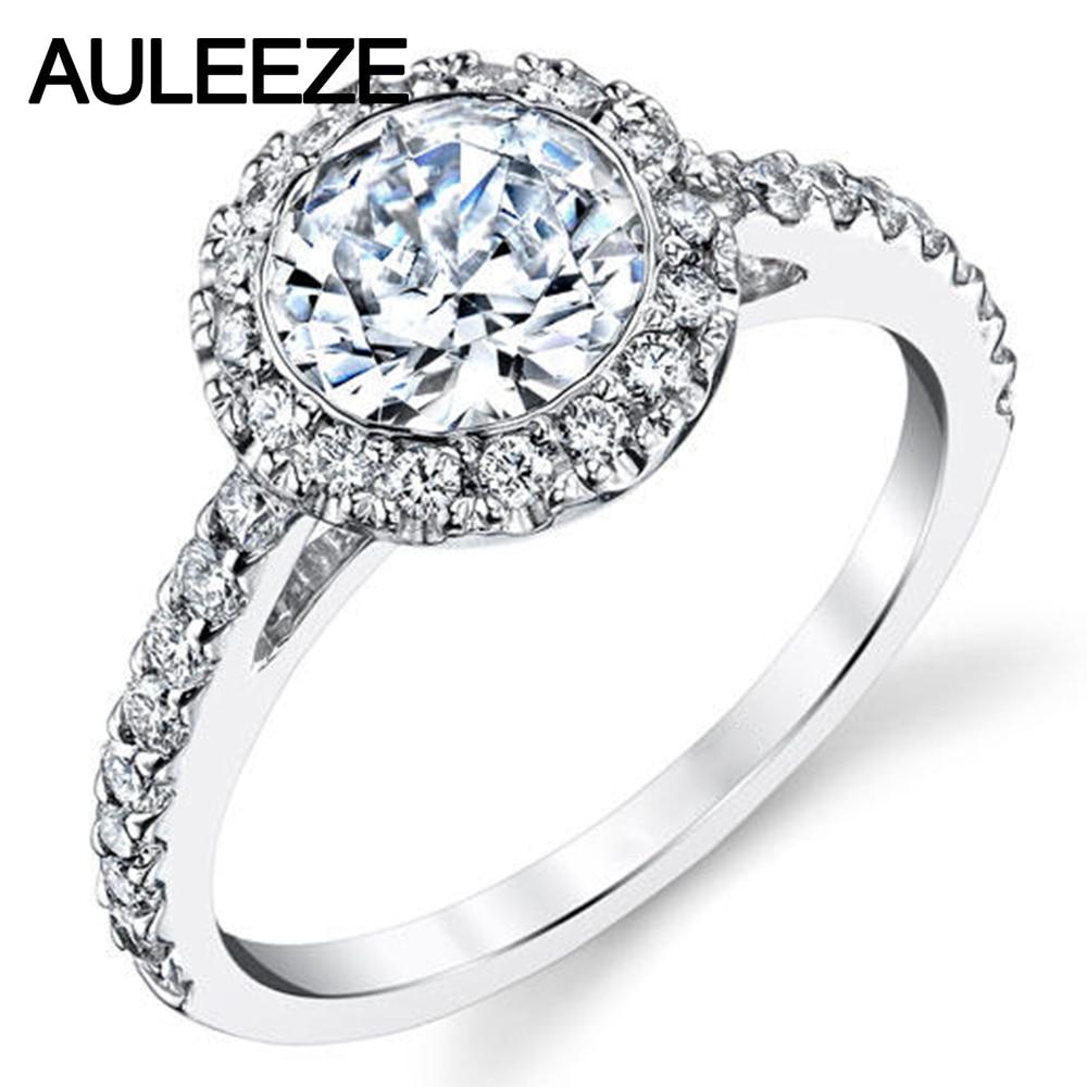 Online Bezel Setting Halo 1ct Moissanites 14k 585 White Gold Ring Lab Grown Diamond Wedding Engagement Rings For Women Fine Jewelry Aliexpress Mobile