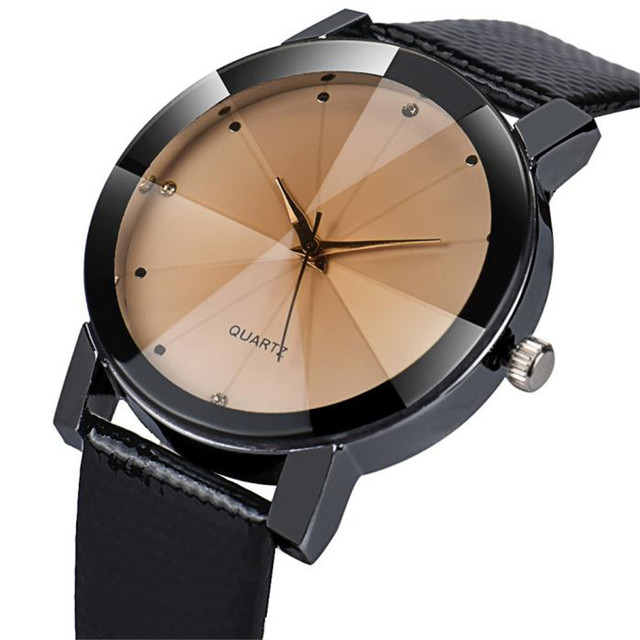 Watch Men Unisex Quartz Sport Military Stainless Steel Dial Leather Band WristWatch