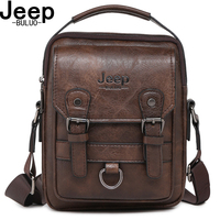 JEEP BULUO Brand New Man's Crossbody Shoulder Bag Multi function Men Handbags Large Capacity Split Leather Bag For Man Travel