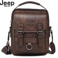 JEEP BULUO Brand New Man's Crossbody Shoulder Bag Multi function Men Handbags Large Capacity Split Leather Bag For Man Travel
