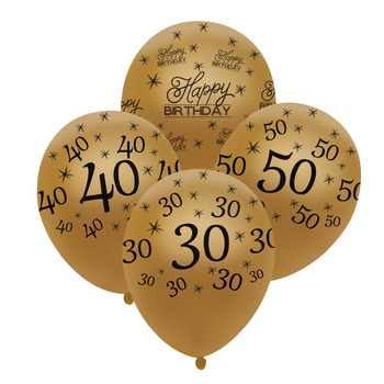 40th Birthday Balloon Gold 10 Pcs