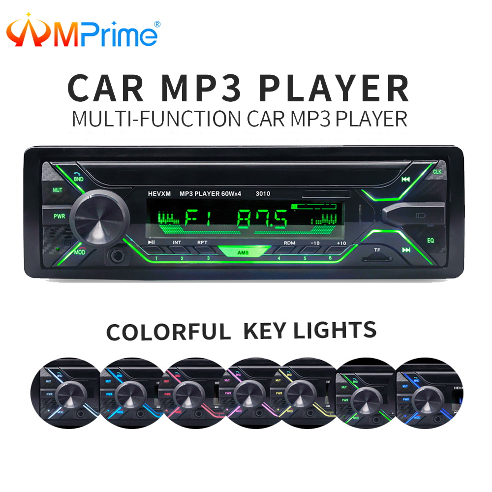 AMPrime Car Auto Radio 1 din 12V Bluetooth Stereo Audio MP3 Player FM Radio Receiver Support Aux Input SD USB MMC Remote Control dc12v bluetooth car radio mp3 player vehicle stereo audio in dash aux input receiver support tf fm usb sd with remote control