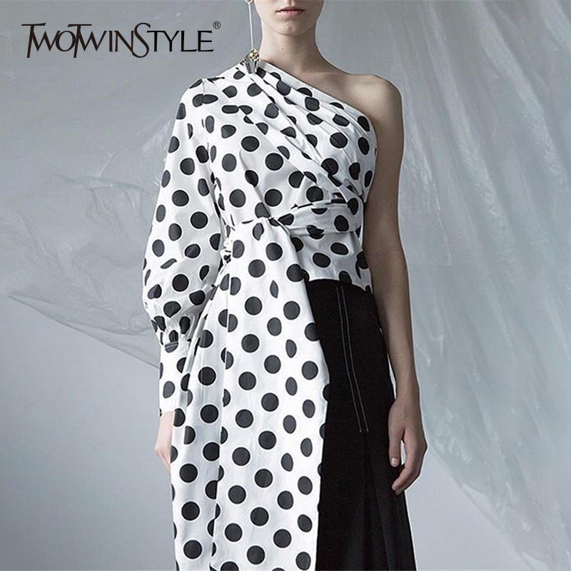 TWOTWINSTYLE Polka Dot Womens Tops And Blouses Shirts Skew Neck Lantern Sleeve Off Shoulder Bandage White