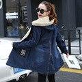 2016 Autumn Winter Jackets Women Parka Slim Fleece Hooded Denim Coats Fashion Letter Patch Pockets Long Jeans Jackets Female