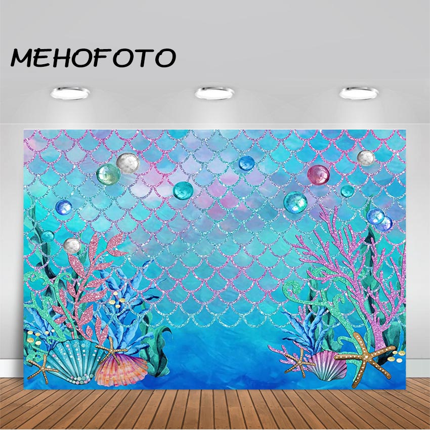 MEHOFOTO Under The Sea Blue Photography Backdrop Ocean Mermaid Theme Girl Birthday Party Decoration Photo Background image