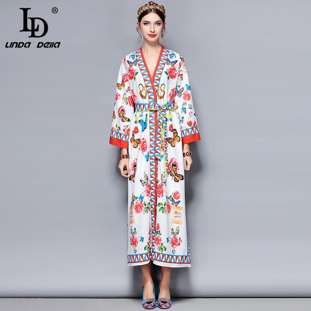 Spring Maxi Dress 3XL Plus size Women's Elegant Belt Butterfly Floral Print Loose Long Dress