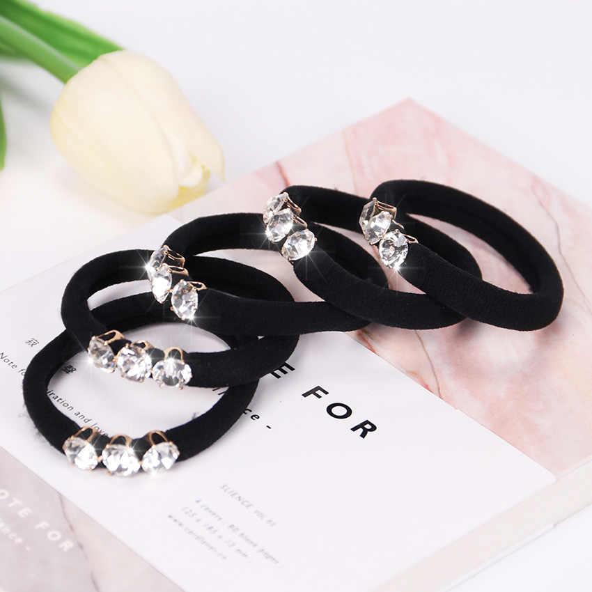 10PCS Female Elastic Hair Bands With Three Luxury Rhinestone Hair Circle Gift for Girl Hair Accessories