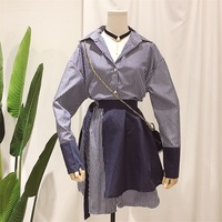 Spring Summer New Pattern Full Sleeve Fake Two Pieces Belt Waist Stitching Blouse Ladies Fashion Long